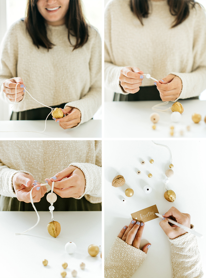 diy holiday ornaments with wooden beads and walnuts