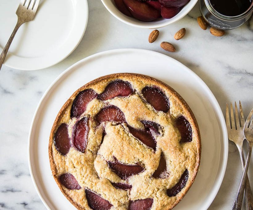 wine poached plum & almond cake - YUM!