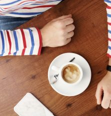 espresso and a striped shirt