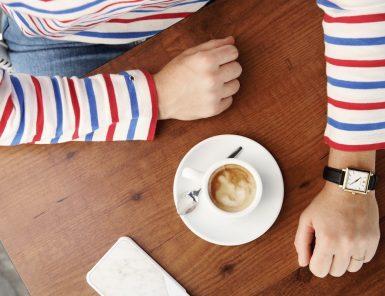 espresso and a striped shirt