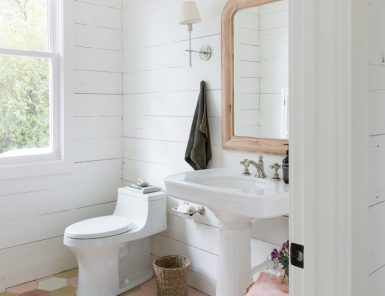 the bright and airy bathroom at the Camille Styles headquarters