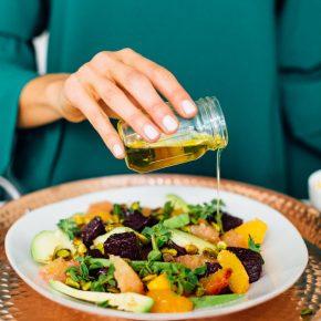 roasted beet, avocado, pistachio salad