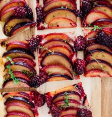plum, ginger, and thyme tart