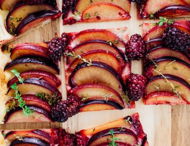 plum, ginger, and thyme tart
