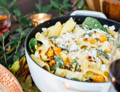 butternut squash pasta with spinach and goat cheese
