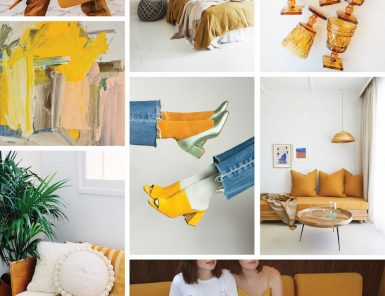 mustard yellow mood board