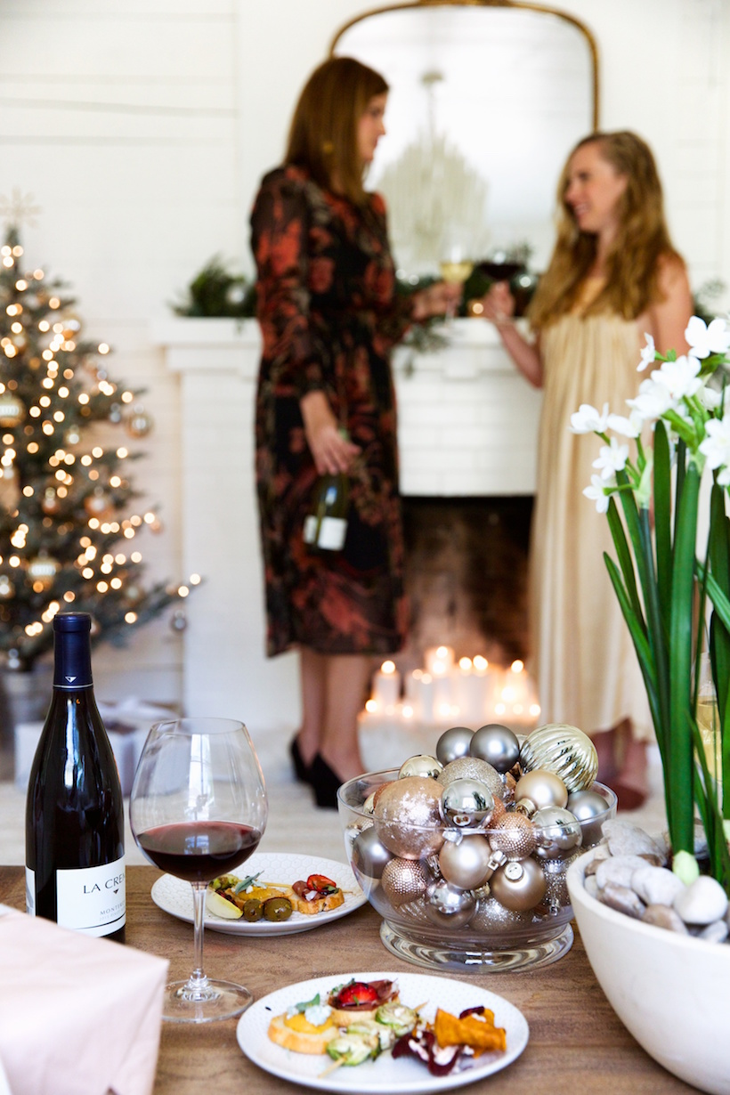 holiday wine party with la crema