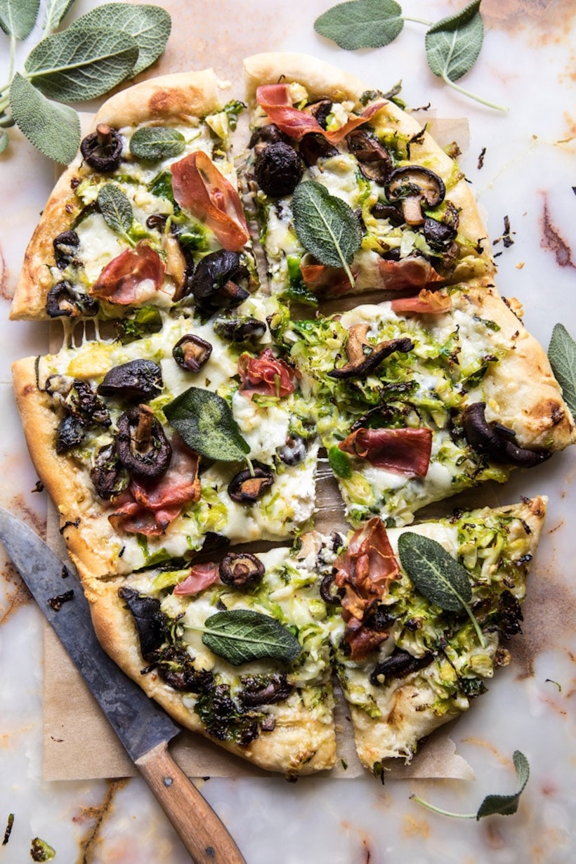 Brussels Sprouts Mushroom Pizza with Crispy Prosciutto and Sage