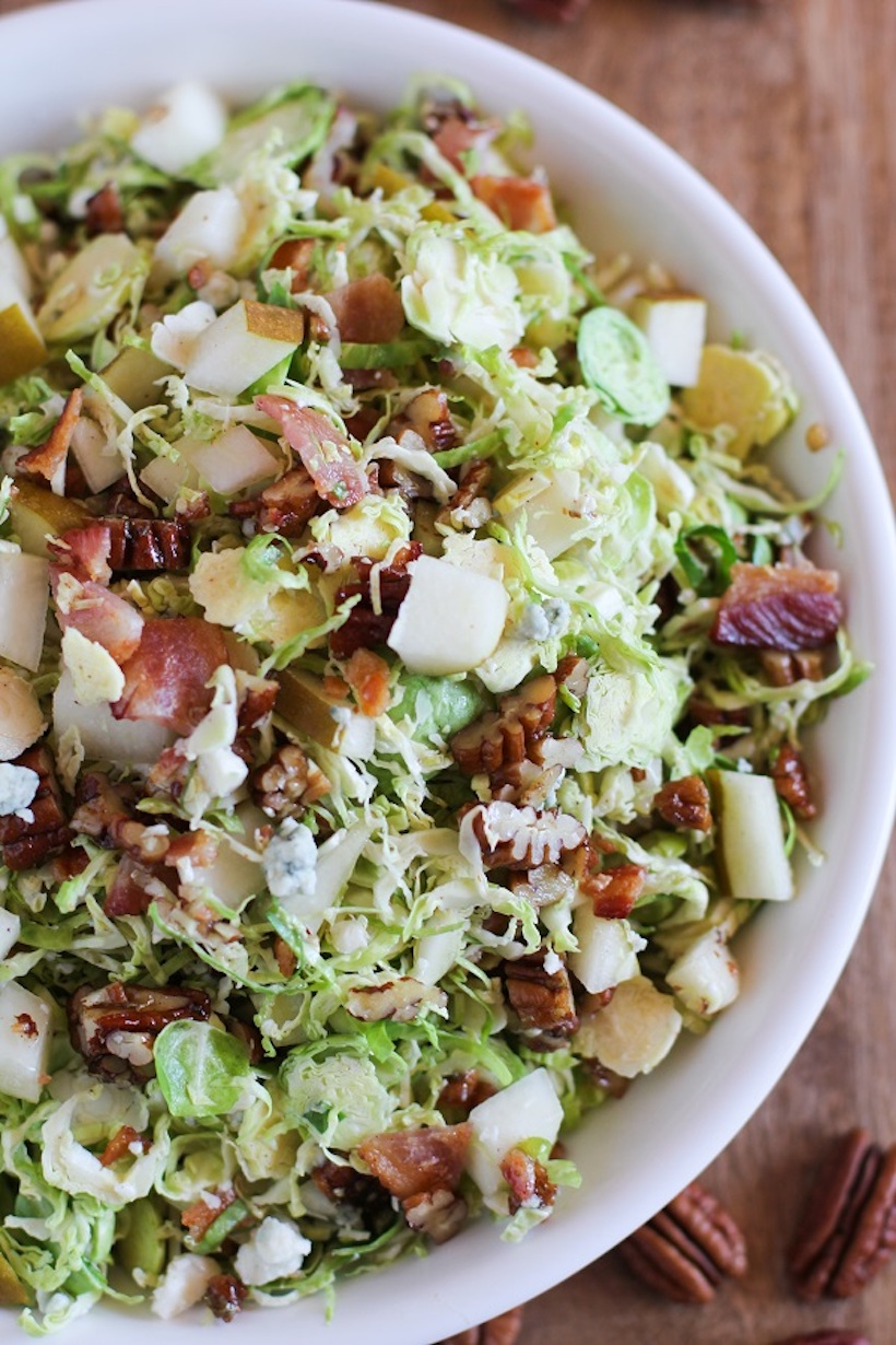 Brussels Sprouts Chopped Salad with Pears, Gorgonzola, an Warm Bacon Vinaigrette