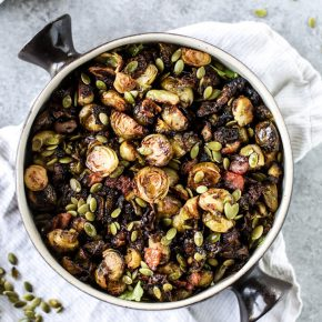Mustard Roasted Brussels Sprouts with Bacon