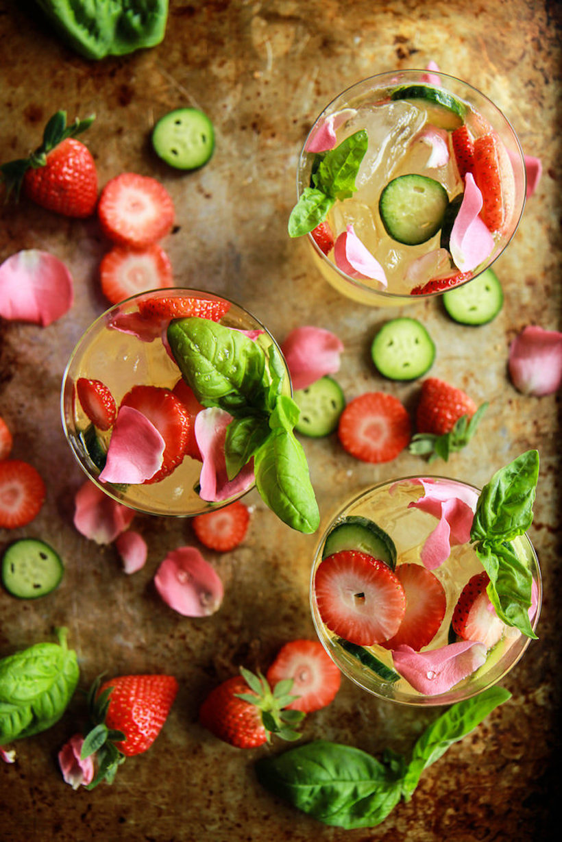 strawberry basil cucumber rosé sangria