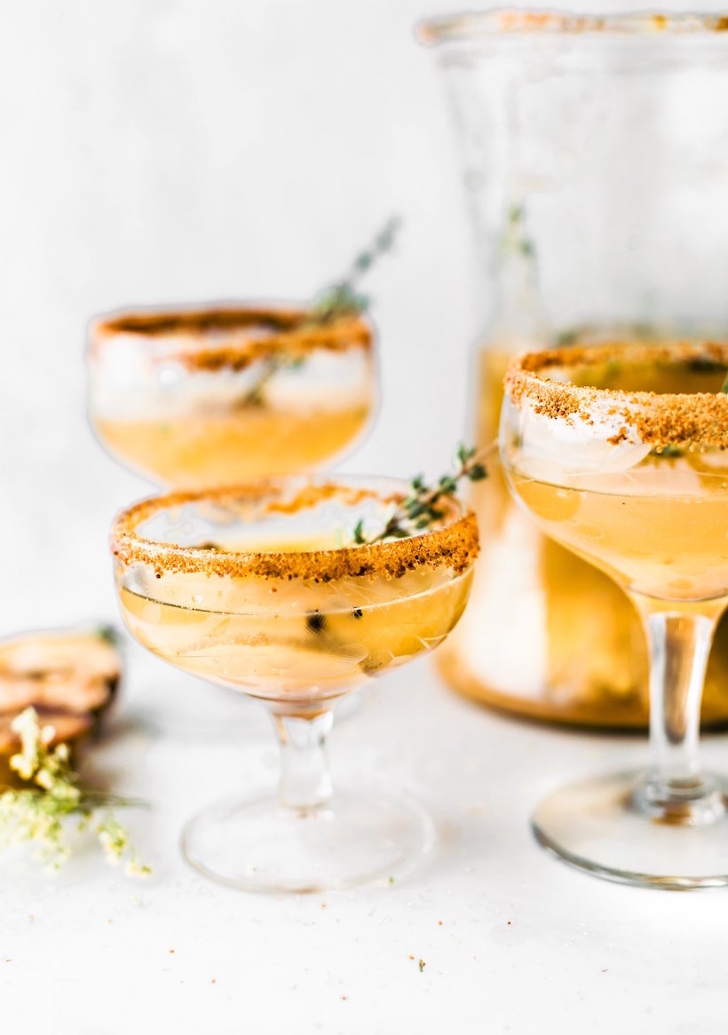 honey roasted pear sparkling cocktail