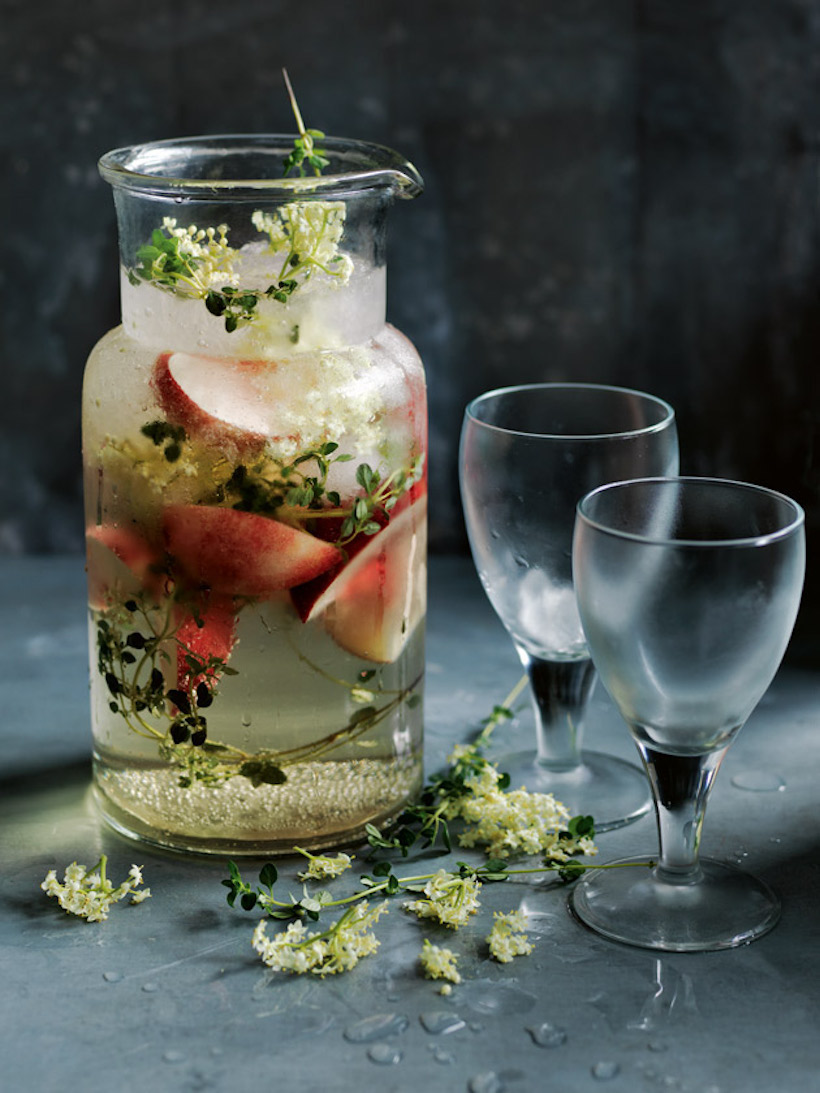 white peach elderflower cooler