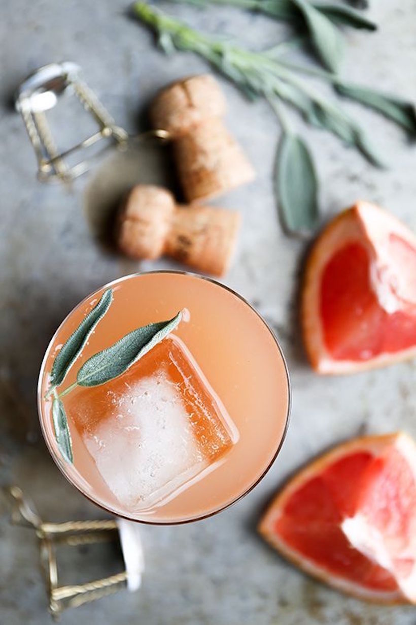 grapefruit sage champagne cocktail