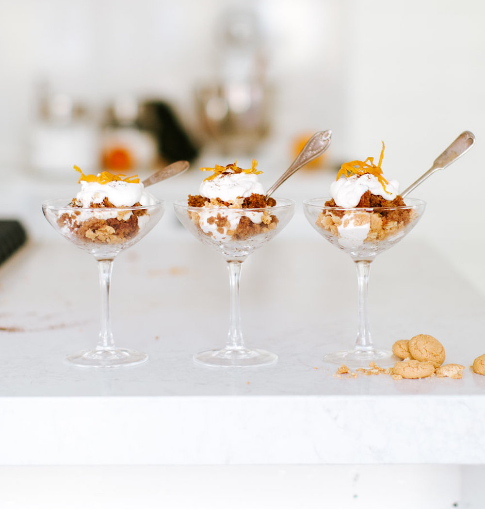 these carrot cake trifles are the perfect dessert for a holiday party