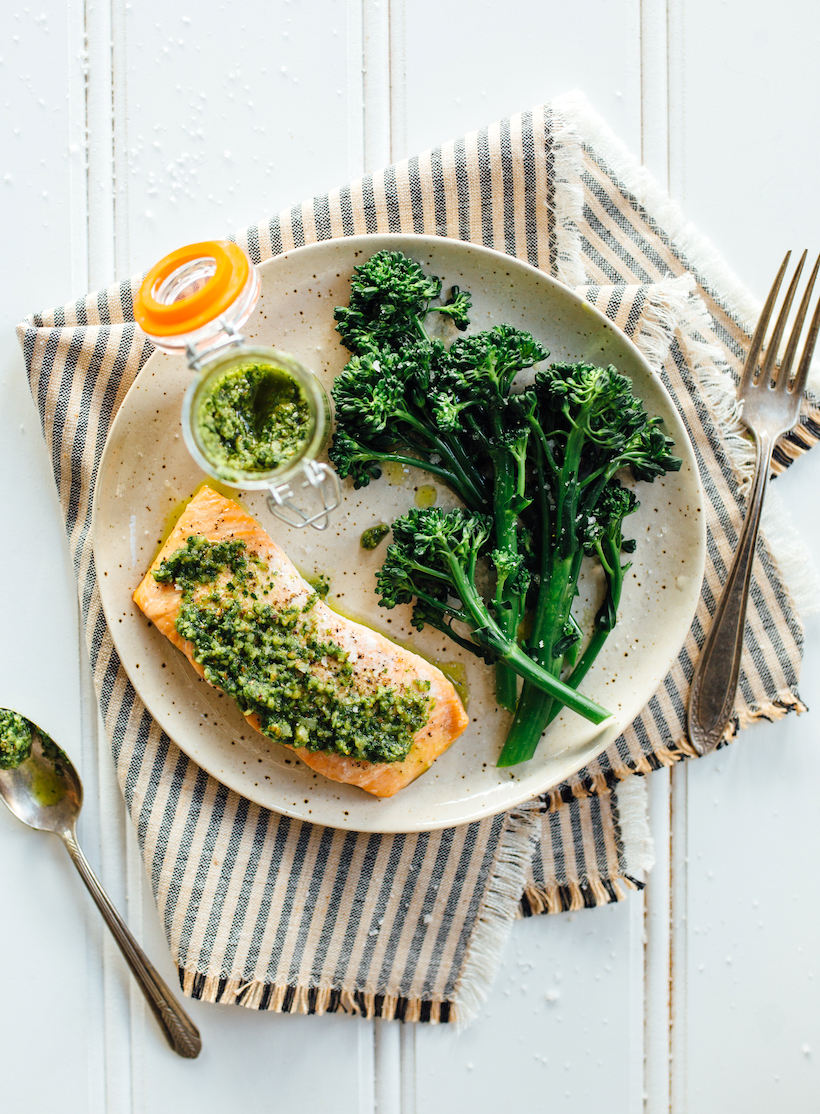 baked salmon with pesto & broccolini