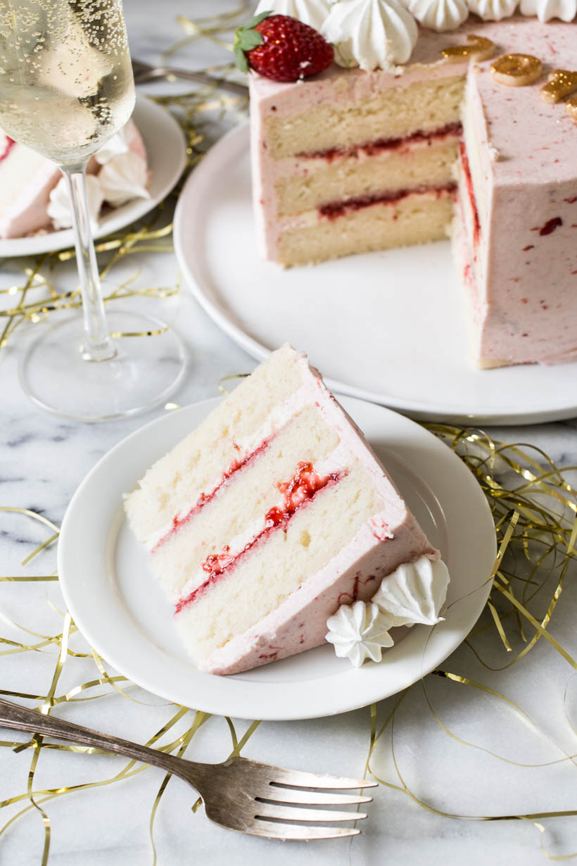 champagne strawberry and almond layer cake