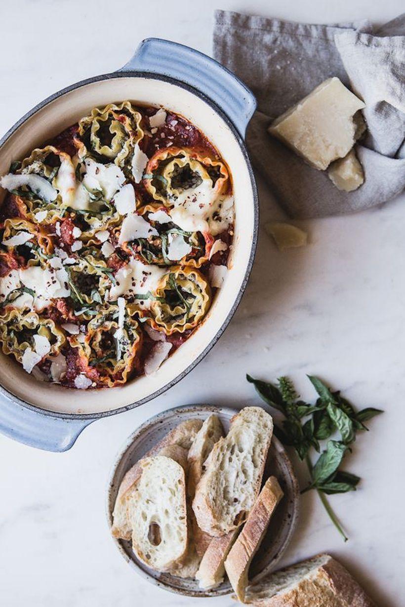 4 cheese & mushroom rolled lasagna