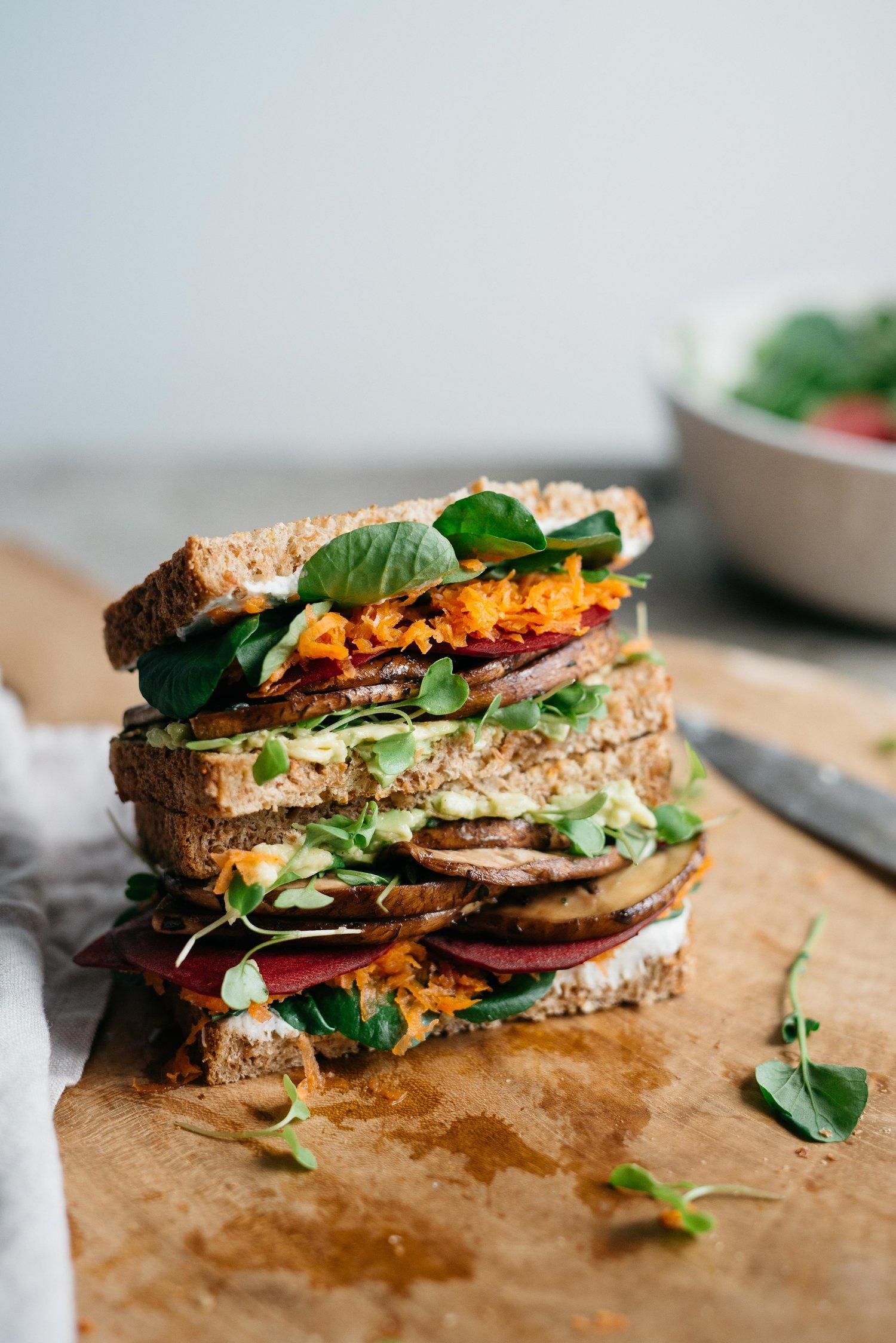 Avocado Club Sandwich with Marinated Portobello Mushrooms