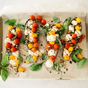 Stuffed Caprese Grilled Eggplants with Tomatoes, Basil & Mozzarella