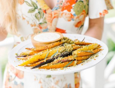 Recipe for Rainbow Carrots with Yogurt & Pistachios