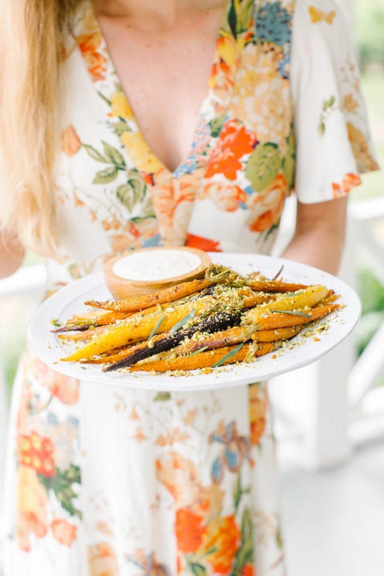 Recipe for Rainbow Carrots with Yogurt & Pistachios