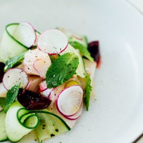 Hamachi Ceviche with Cherries, Radish & Cucumber