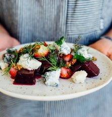 This grilled beet, strawberry, & blue cheese salad is perfect for a dinner party