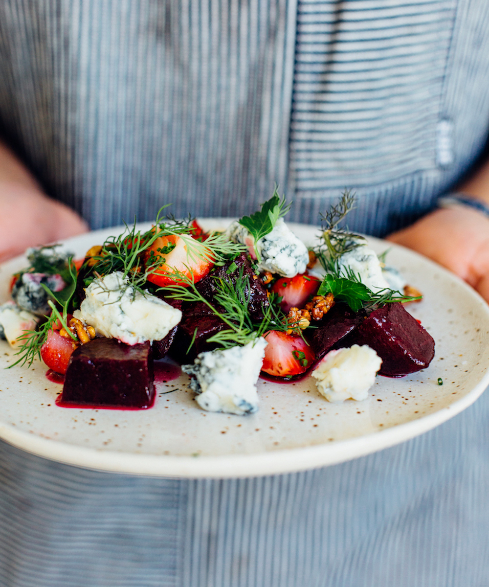 Smoky Beet & Strawberry Salad with Gorgonzola