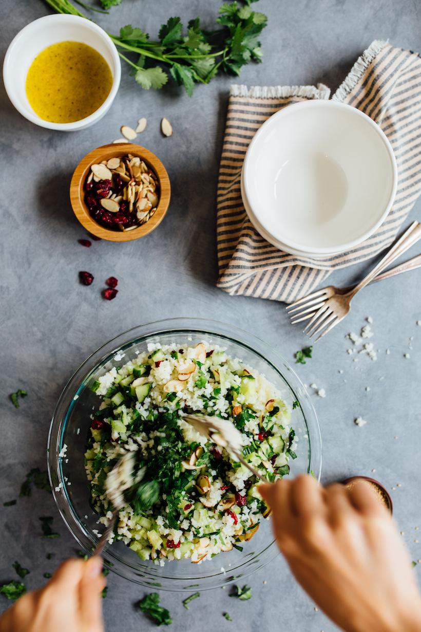Gluten-Free Cauliflower Tabbouleh - Camille Styles