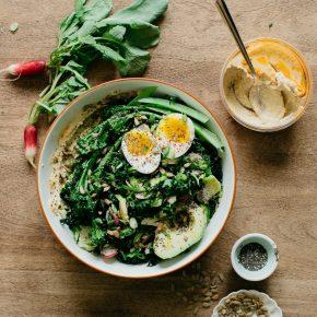 Hummus, Greens, & Avo Bowl