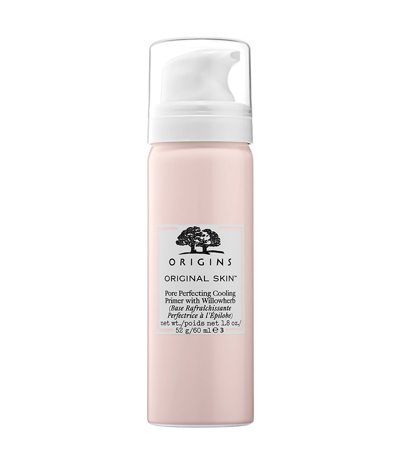 Pore-Minimizing  Pore Perfecting Cooling Primer with Willowherb by Orgins  A foaming primer with a subtle tint, this fluffy formula cools and soothes while it evens skin tone and minimizes the appearance of pores.