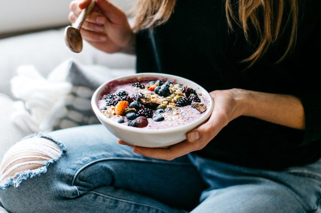 berry yogurt and smoothie swirled bowl
