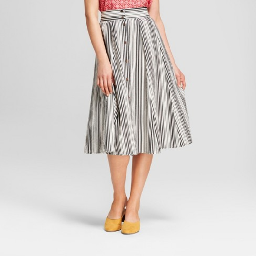 Universal Thread Black and White Midi Skirt