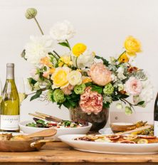 spring flowers and dinner party tabletop