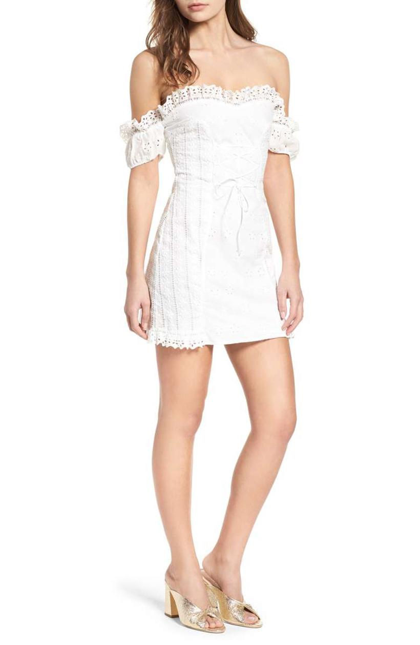 Anabella Off the Shoulder Mini Dress by For Love & Lemons