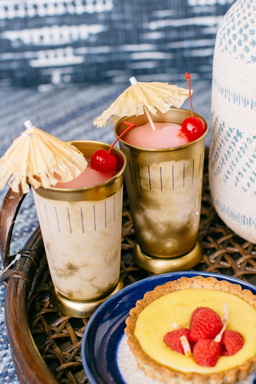 tropical drinks and desserts