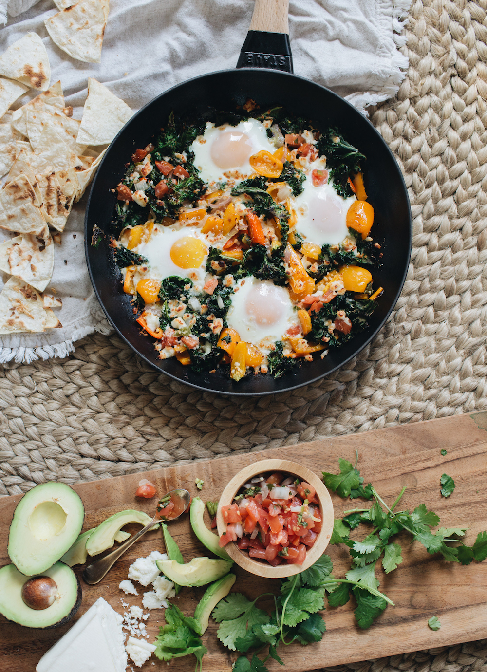 Spicy Mexican Baked Eggs with Queso Fresco & Avocado