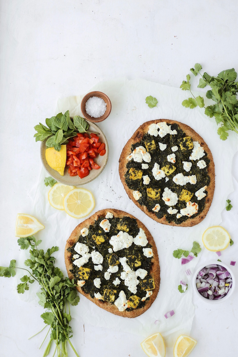 Palak Paneer Naan Pizzas | This Brown Kitchen