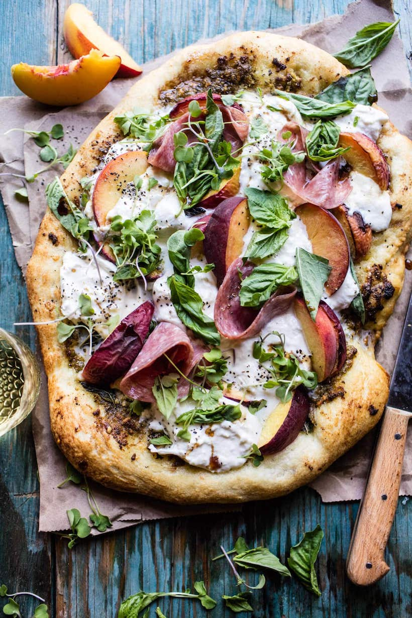 Recipe for Peach Burrata Pizza with Honey Balsamic
