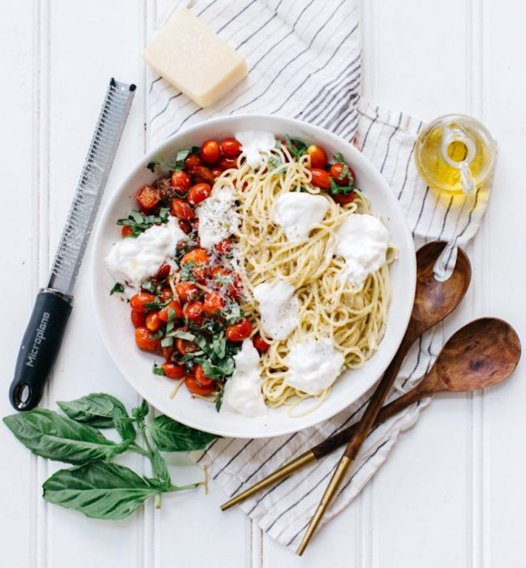 Spaghetti with Summer Tomatoes, Burrata and Basil