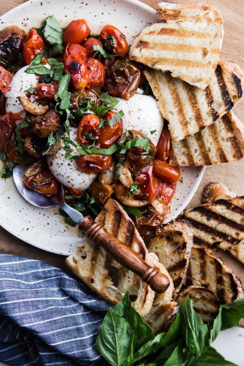 Recipe for Braised Tomatoes with Burrata