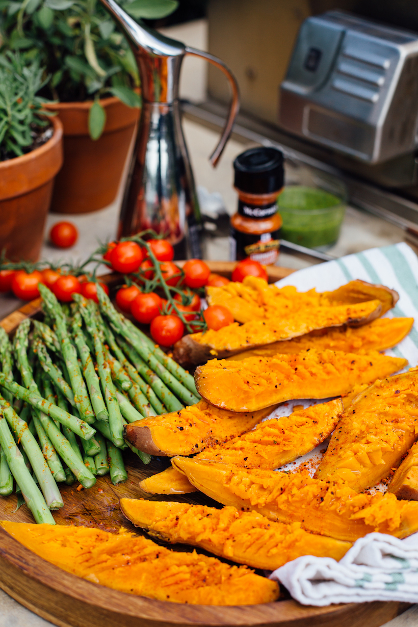 How to prep sweet potatoes for the grill