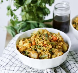 an easy vegetable biryani - vegetable filled rice dish from Indian cooking   this brown kitchen