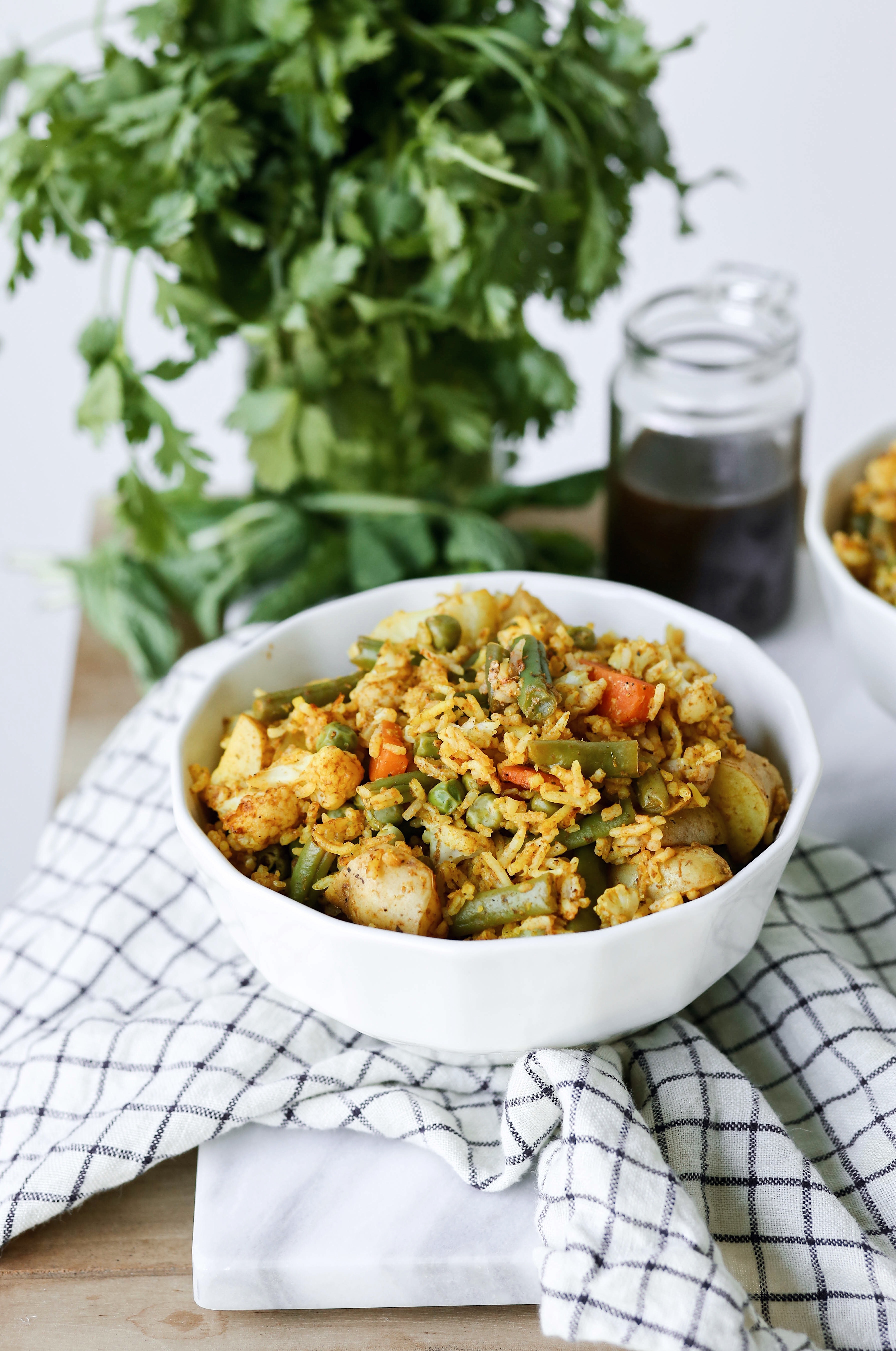 an easy vegetable biryani - vegetable filled rice dish from Indian cooking | this brown kitchen