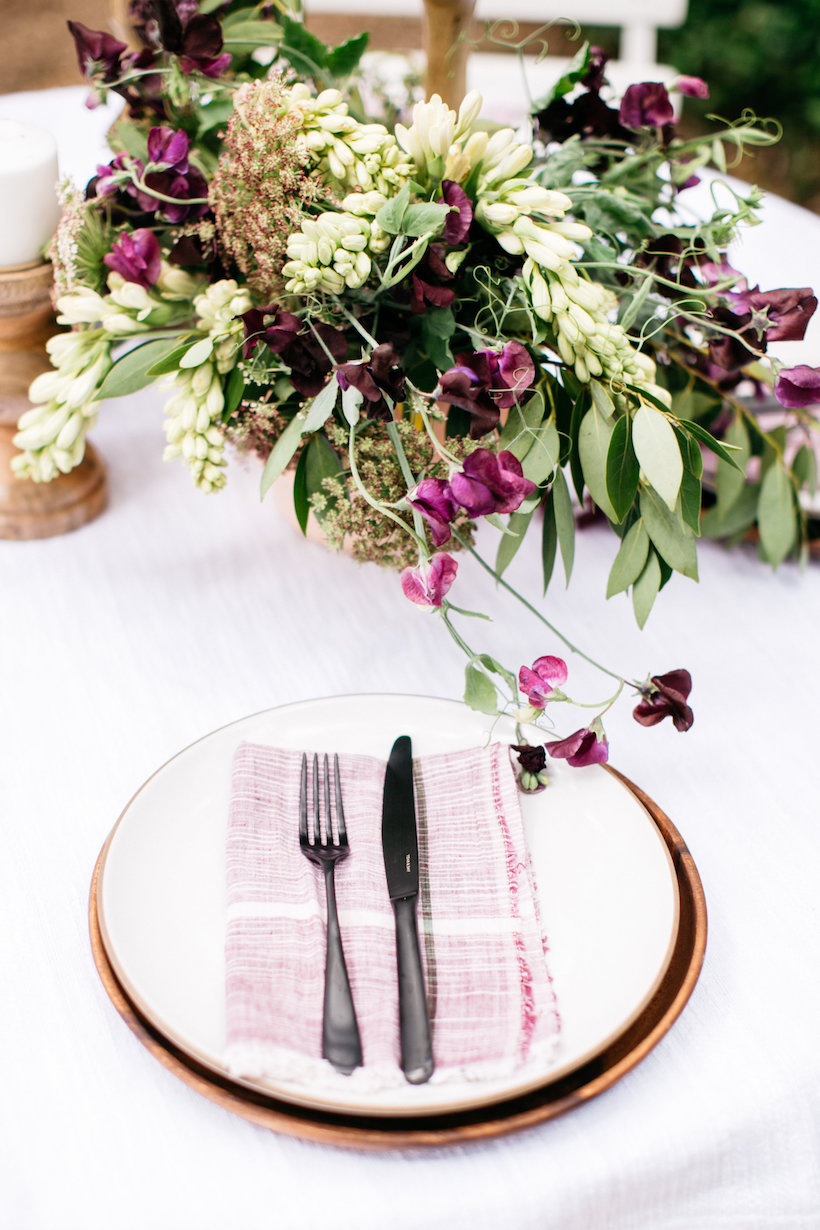 A table setting with subtle colors