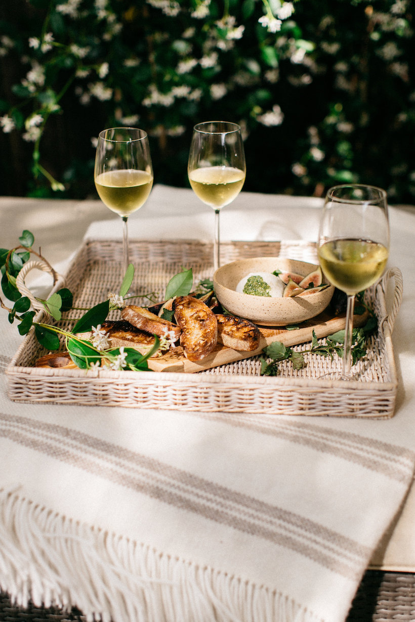 Our favorite chardonnay and some casual bites for our outdoor hang