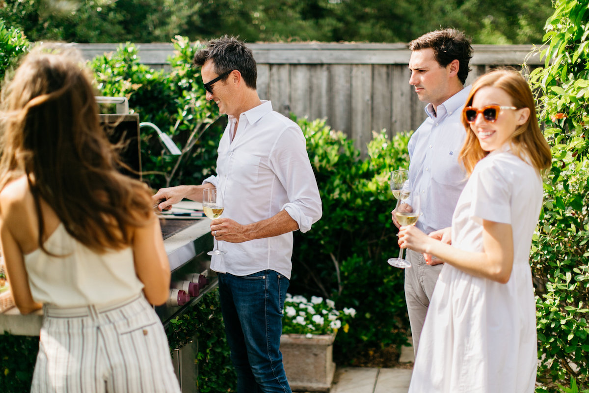 Outdoor grilling for a blooming jasmine dinner party