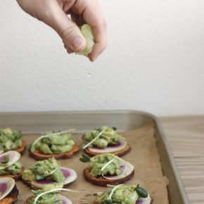 Recipe for Sweet Potato Guacamole Toasts