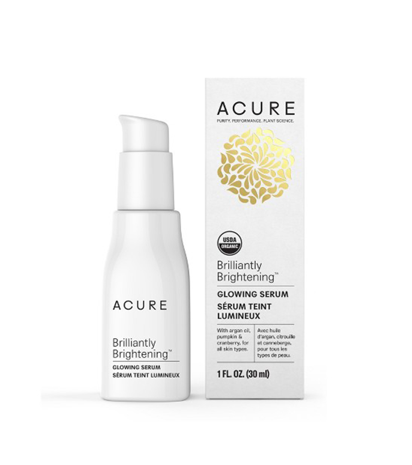 Acure Organics Brilliantly Brightening Glowing Serum A more recent discovery of mine, this serum is the perfect thing to wake up your skin in the morning—argan oil hydrates, while antioxidants from cranberry seed oil protect your skin from free radical damage.